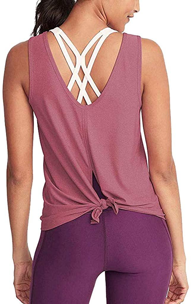 Kekebest Women, Fashion Workout Yoga Deep V Open Back Off Shoulder Casual Shirts Vest Crop Camis Tank Tops Tees Blouses