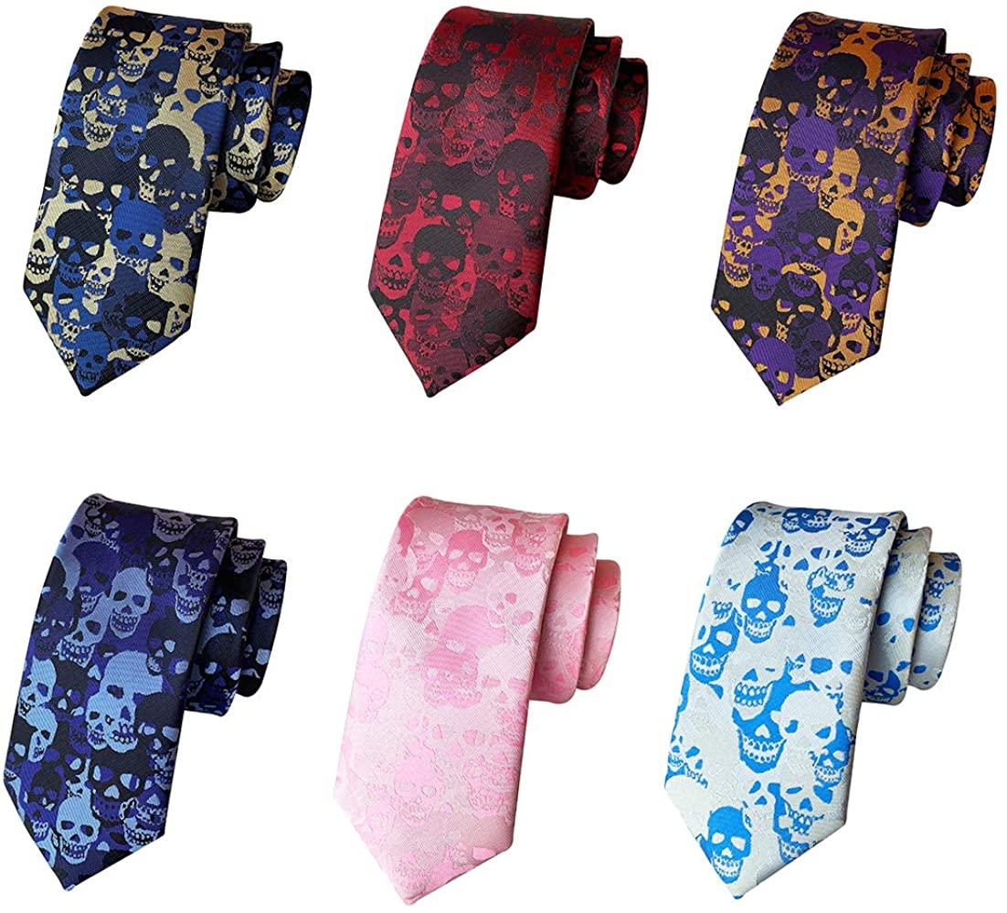 Pack of 6 PCS Skull Tie Crossbones&Skeleton Halloween Novelty Skinny Necktie Set
