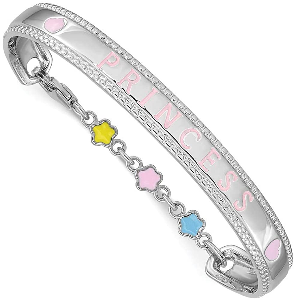 Solid 925 Sterling Silver Enamel PRINCESS Chain Necklace Baby Bangle Cuff Bracelet 4.9