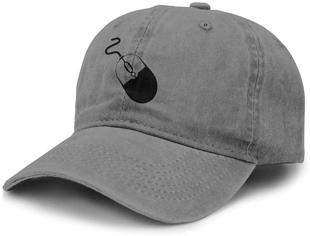 Computer Mouse Icon Cowboy Hat Sports Baseball Cap Adjustable Hat Unisex