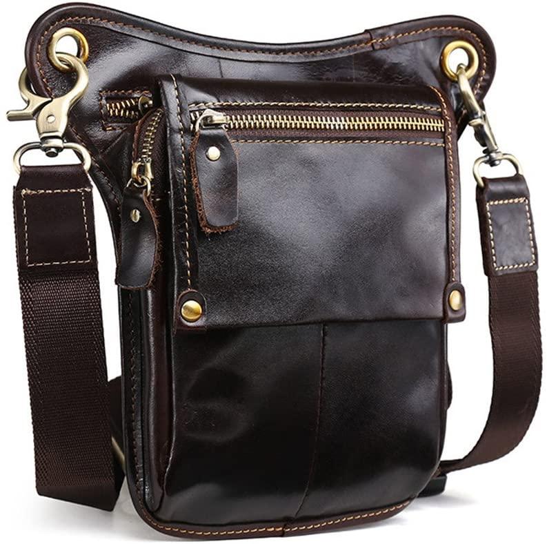 Langzu Men's Leather Motorcycle Waist Pack Leg Bag Rig Bike Cycling Hiking Thigh Bag Messenger Shoulder Bag (Brown-1)