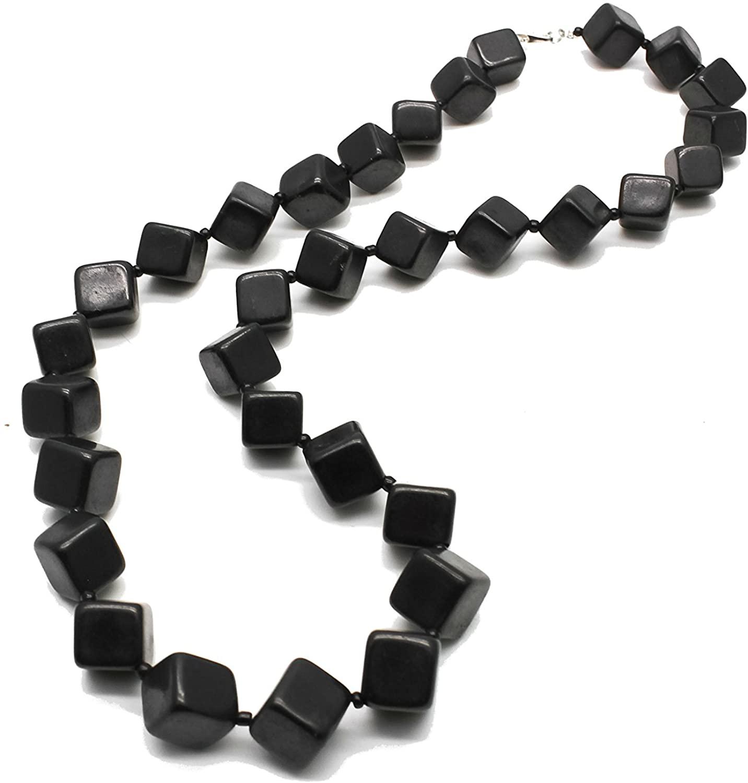 Karelian Heritage Shungite Beaded Necklace Chakra Balancing Vibrational Healing