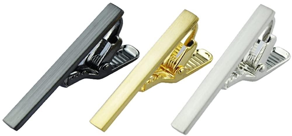 NewSilkRoad 3pcs 1.57 inch Mens Ties Clips Bar Skinny Tie Bar Set with Waterproof Gift Bag