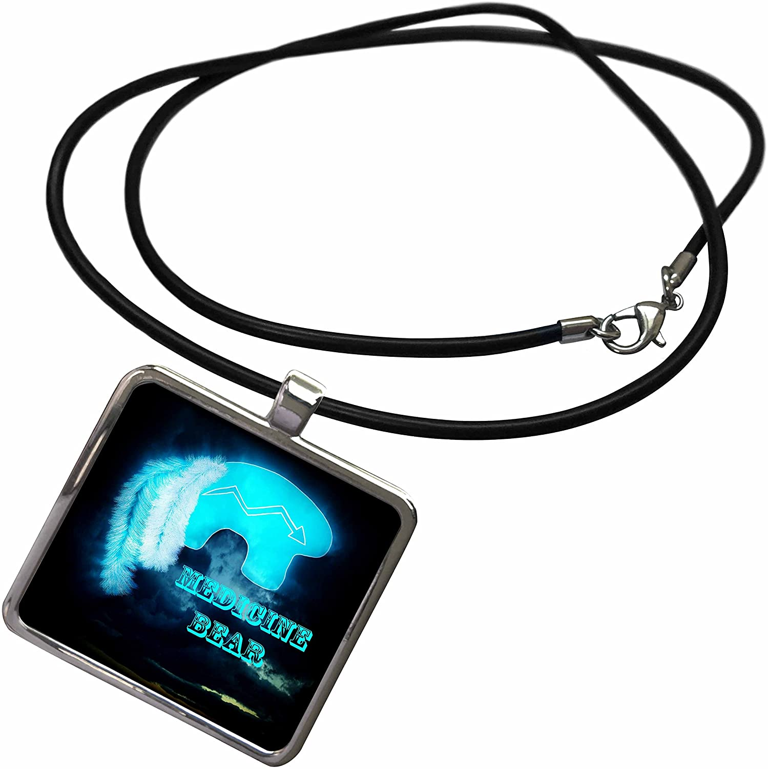 3dRose WhiteOaks Photography and Artwork - Native American - Zuni Medicine Bear is an Image I Created Representing Healing - Necklace with Rectangle Pendant (ncl_218809)