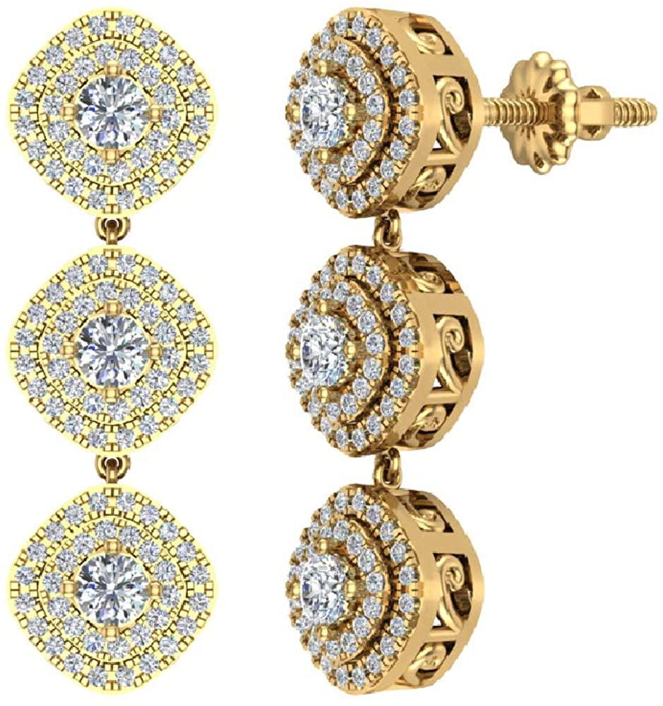 1.28 ct tw Fashion Diamond Dangle Earrings Exquisite Waterfall Cushion Halo 14K Gold
