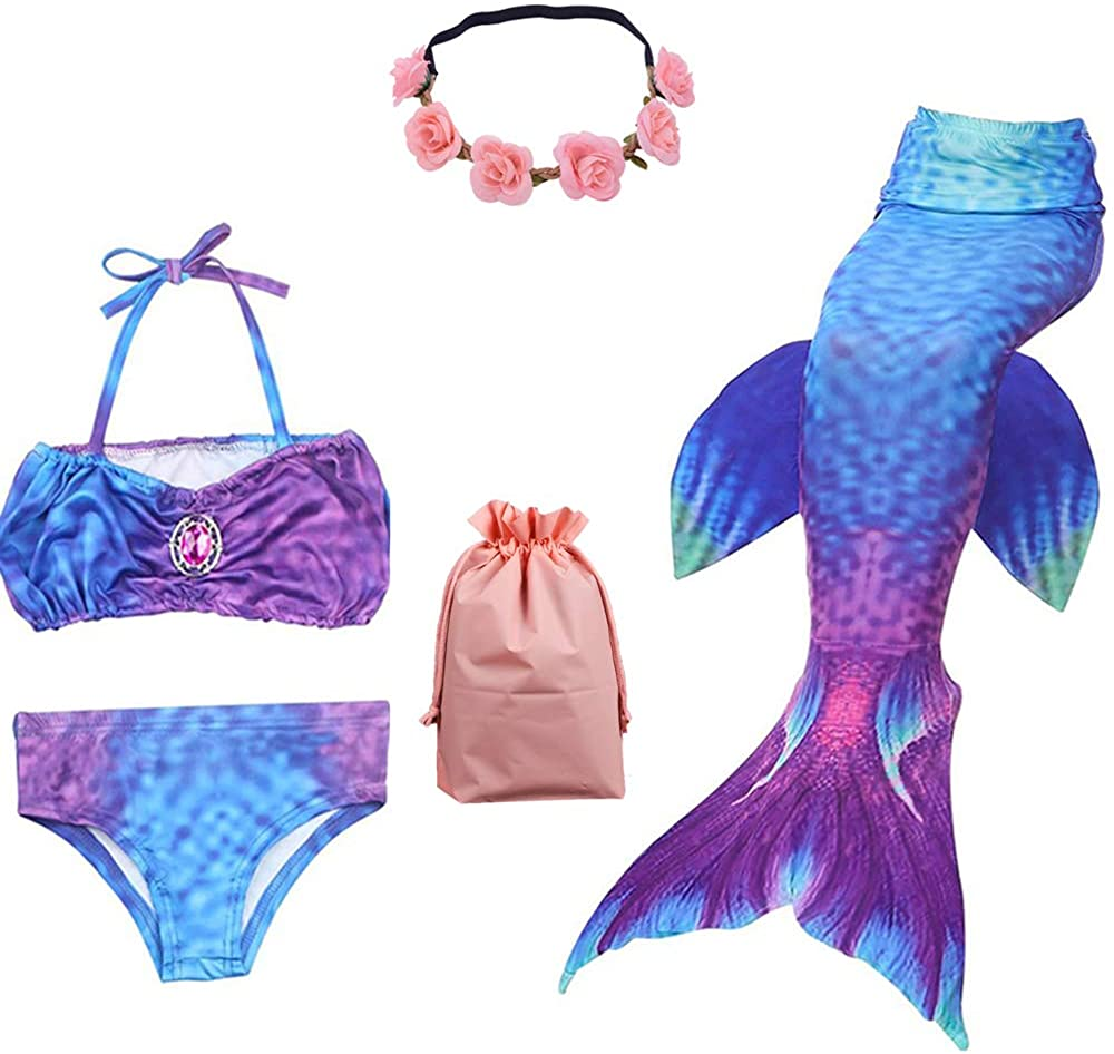 UsHigh Mermaid Tails for Swimming Girls Swimsuit Comfortable 3Pcs Bikini Bathing Suit for Princess Gifts