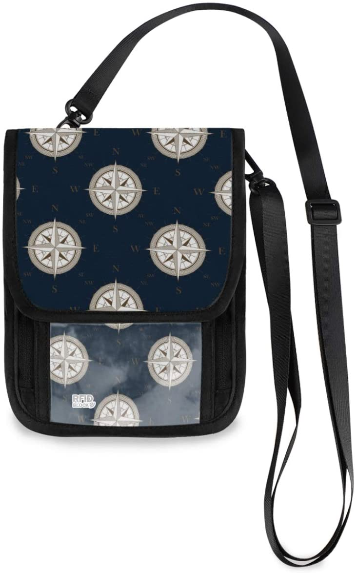 Travel Wallet Neck Pouch - Compass Marks On Dark Blue Passport Holder with RFID Blocking for Men Women Anti Theft Wallet