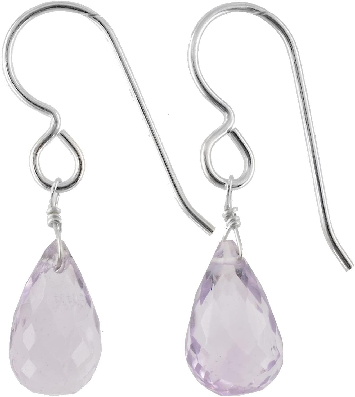 ASHANTI Pink Amethyst Natural Gemstone Sterling Silver Handmade Earrings