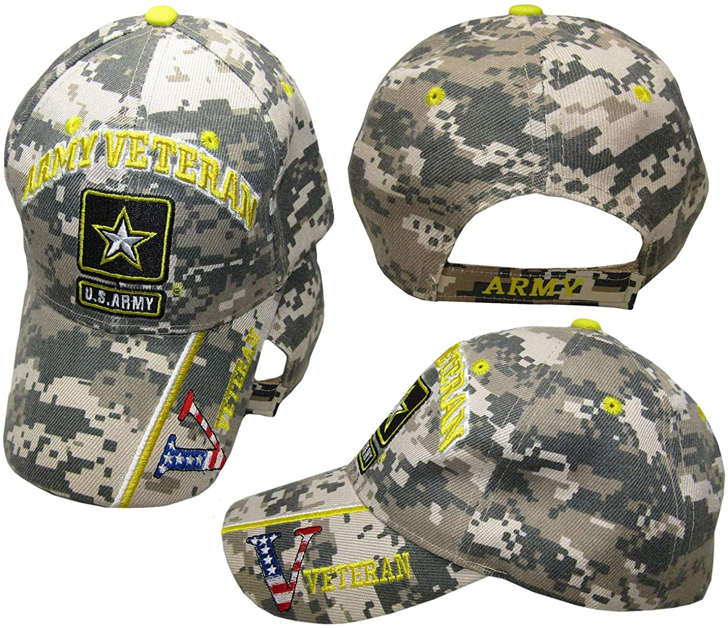 American Wholesale Superstore U.S. Army Star Veteran Vet USA Flag V ACU Digital Camouflage Camo Embroidered Cap Hat
