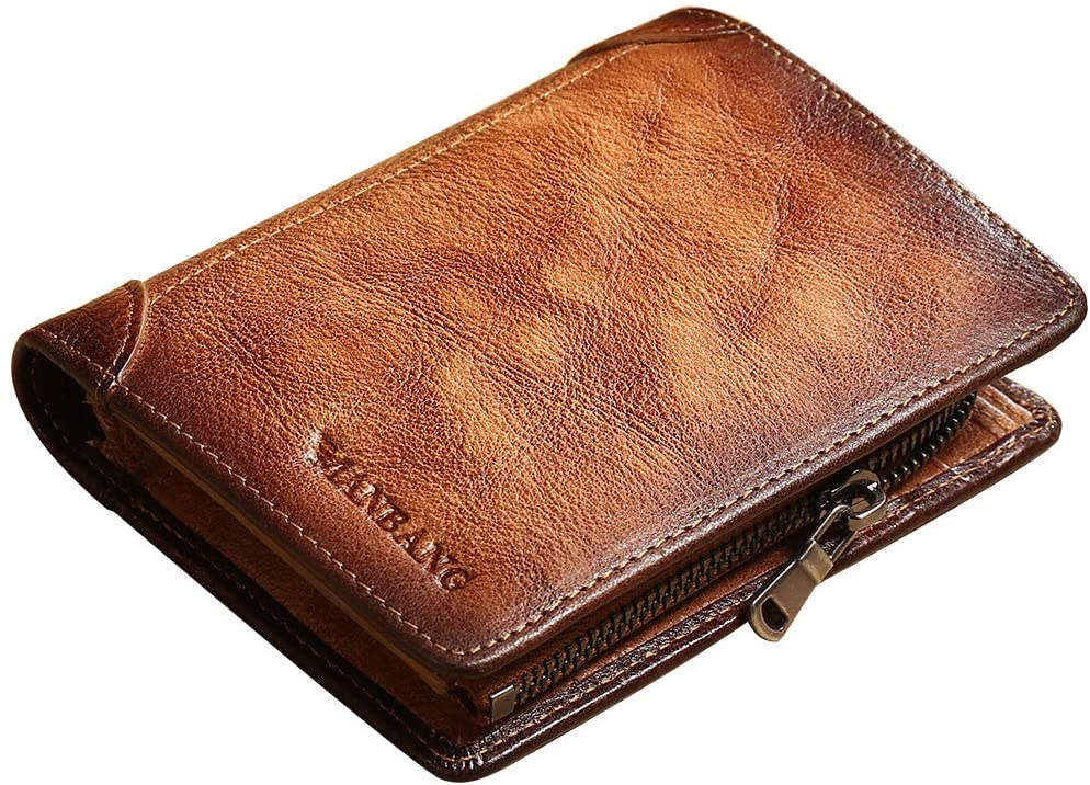 Genuine Leather Purse Vintage Cowhide Wallet for Men (Brown)(full leather anti-theft brush))
