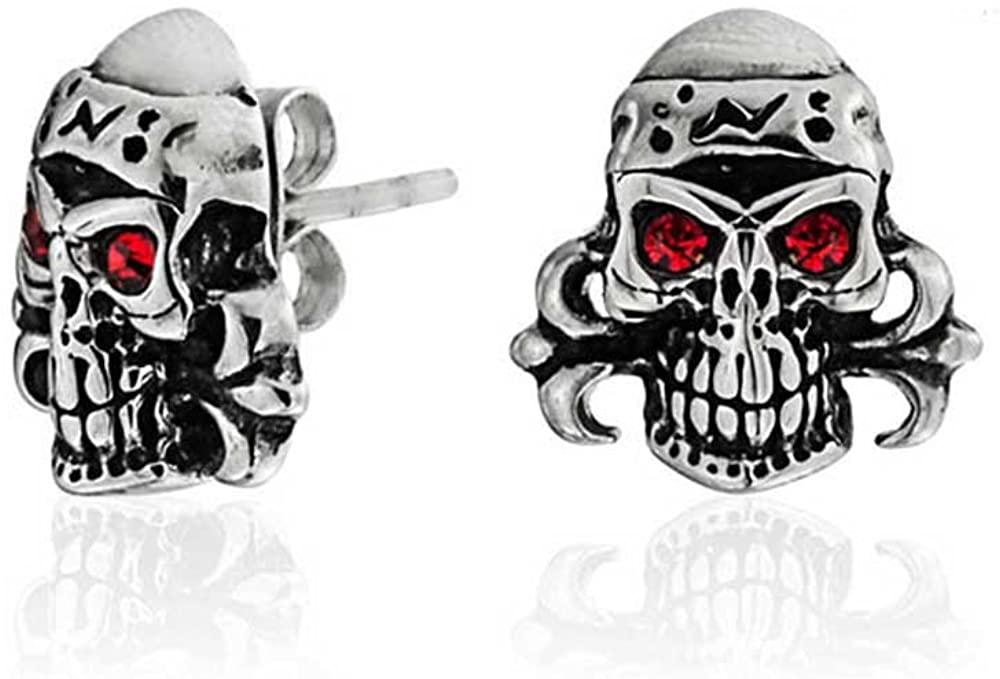 Caribbean Pirate Skull Red Crystal Eyes Stud Earrings For Men For Women Silver Tone Black Oxidized Stainless Steel