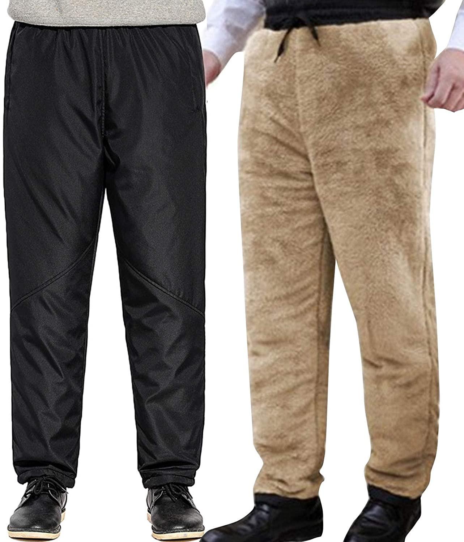 Flygo Mens Open-Bottom Sherpa Fleece Lined Sweatpants Windbreaker Pants