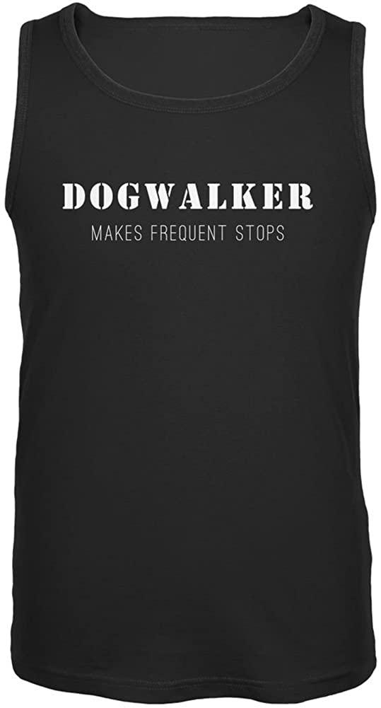 Dog Dogwalker Makes Frequent Stops Black Adult Tank Top
