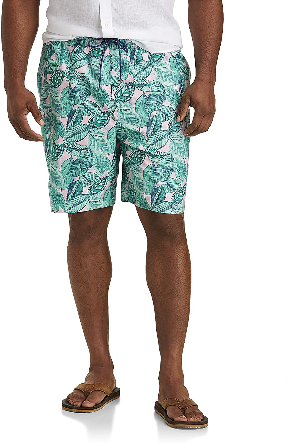 Island Passport by DXL Big and Tall Beverly Hills Floral Swim Trunks, Almond Blossom Pink