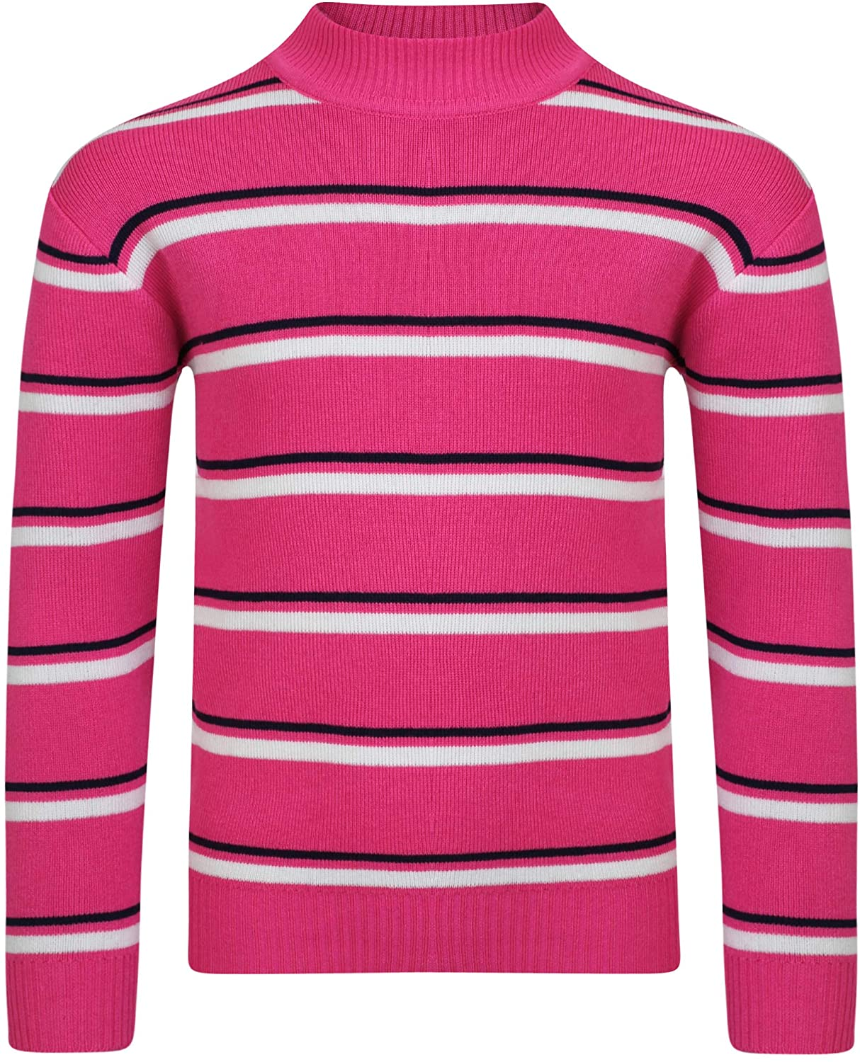 LOTMART Girls Pullover Striped Knitted Jumper Kids Long Sleeve Sweater Knit Top