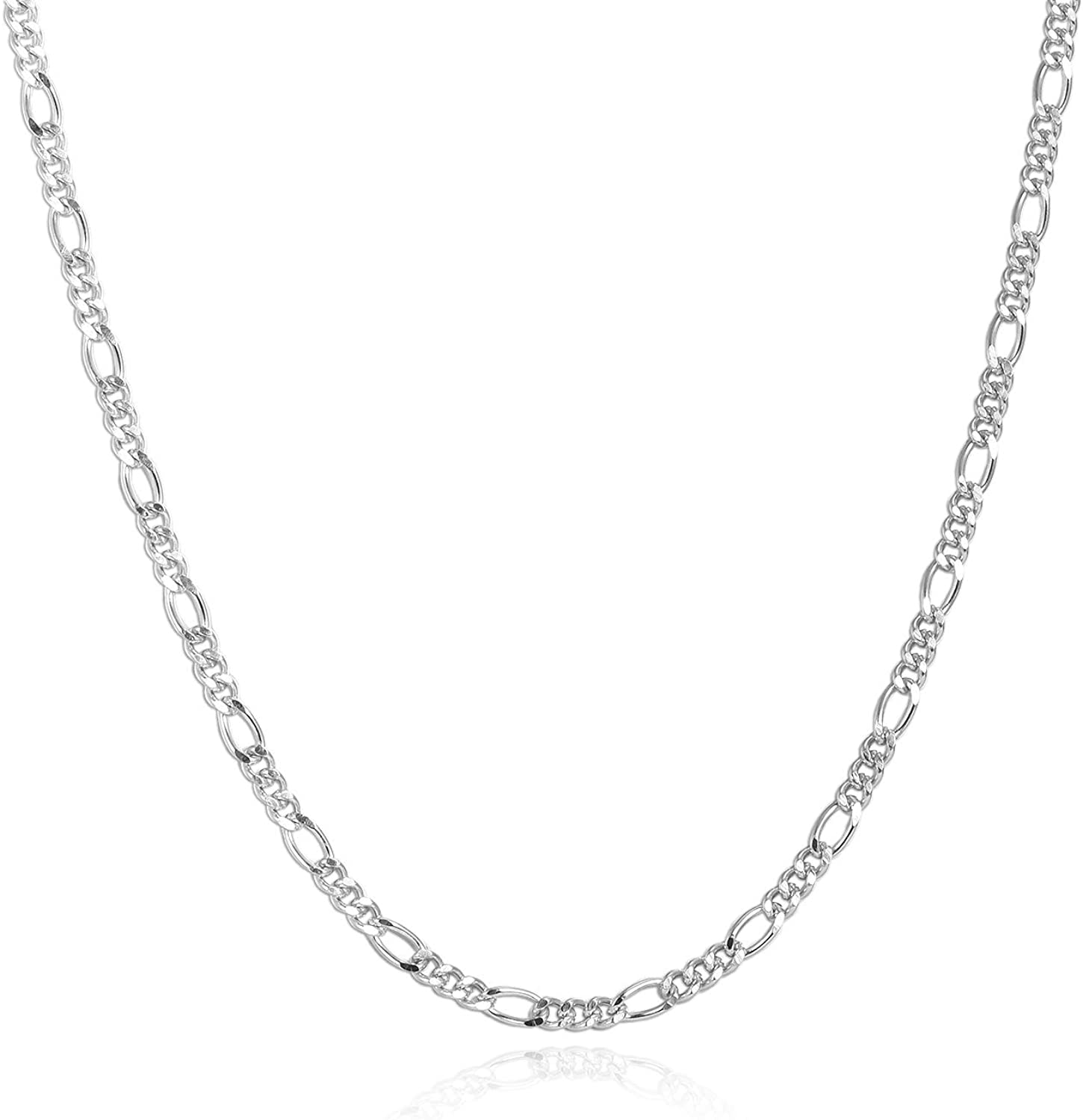 YFN 14k White Gold Plated 3mm Solid Sterling Silver Figaro Link Chain Necklace