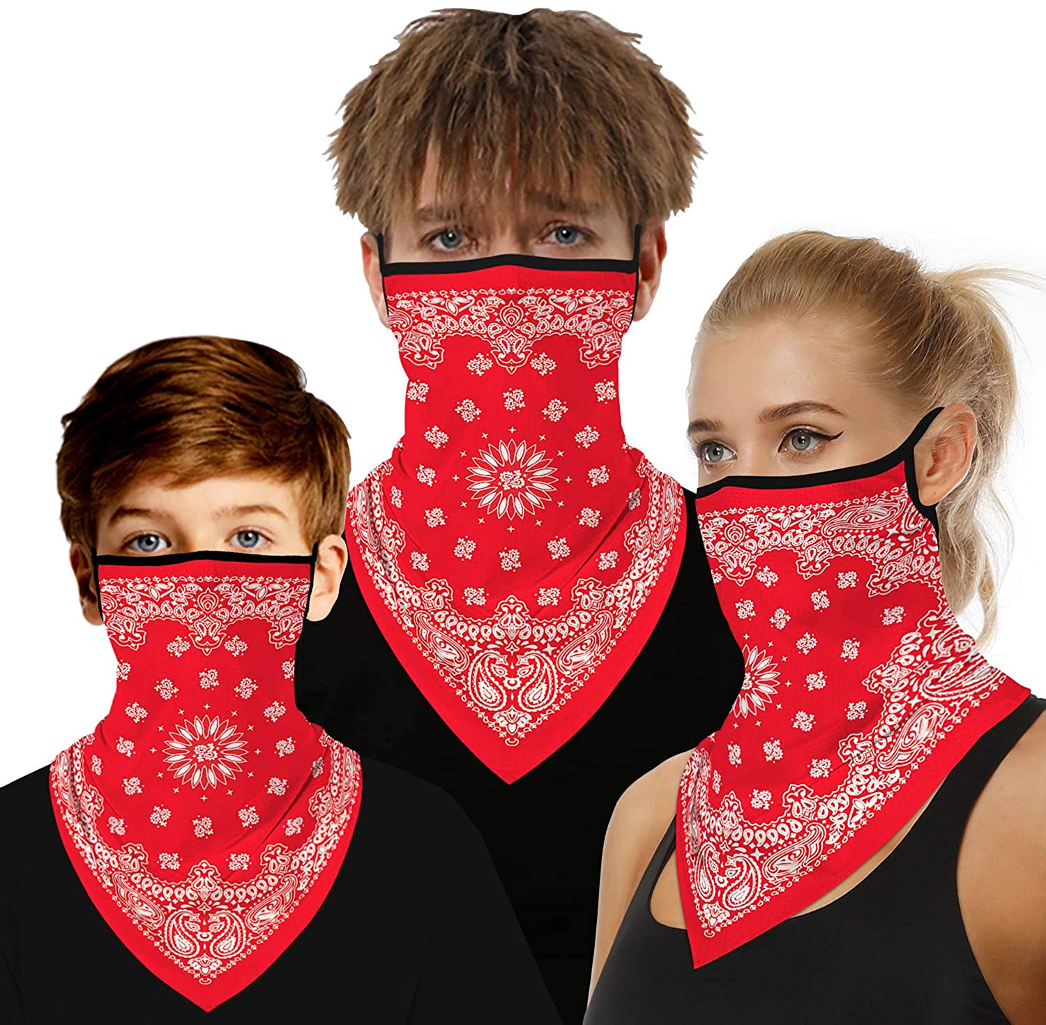 luyusbaby Girls Boys Seamless Bandana Triangle Face Scarf Ear Loops Neck Gaiter Cover, Motorcycle Face Bandana for Kids Teenagers