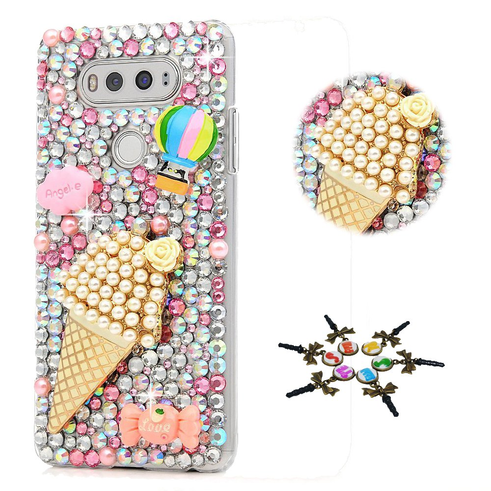 STENES LG Tribute Dynasty Case - STYLISH - 100+ Bling - 3D Handmade Ice Cream Cute Balloon Design Protective Case For LG Tribute Dynasty - Pink