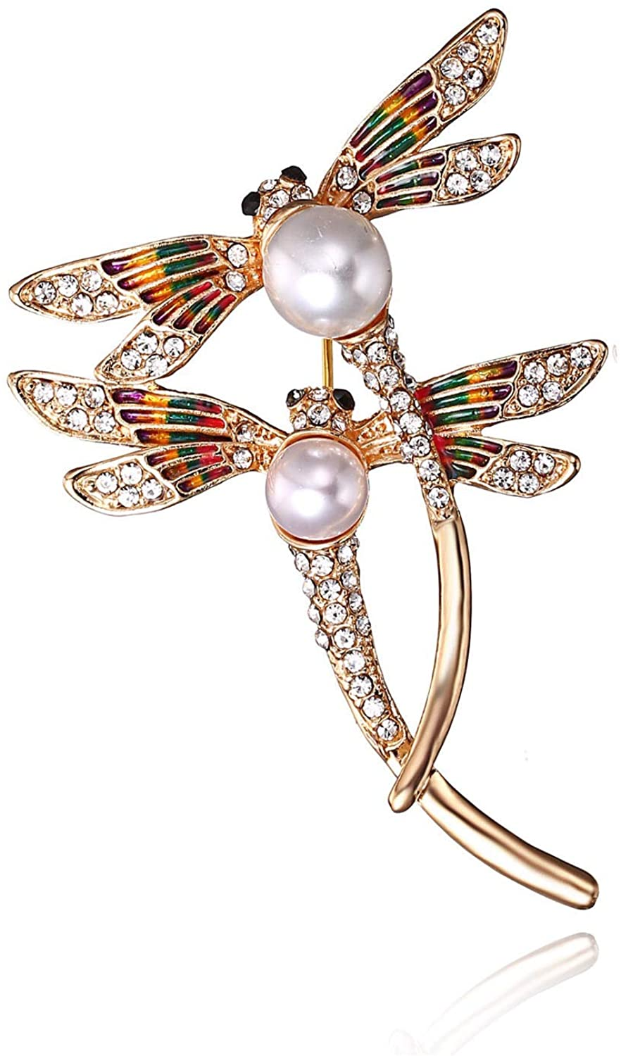 AILUOR Elegant Dragonfly Brooch Pins, Gold Tone Austrian Crystal Colorful Enamel Double Dragonfly Simulated Pearl Rhinestone Brooch Jewelry