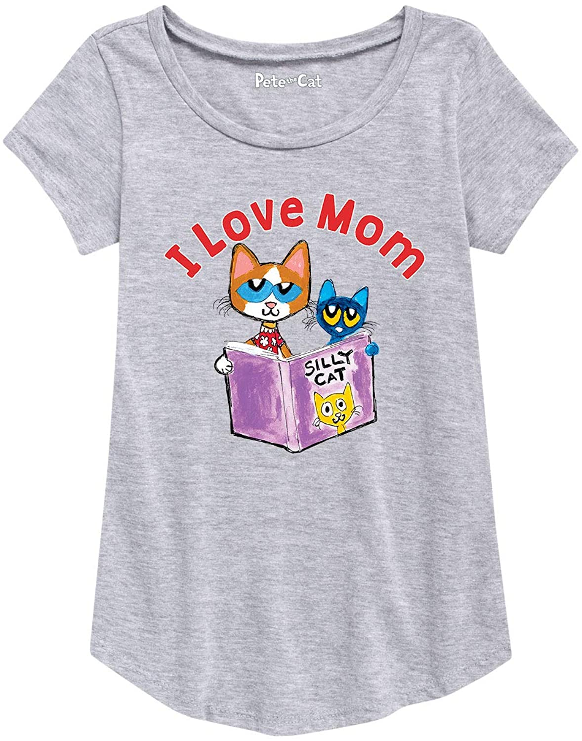 Pete The Cat Love Mom - Youth Girl Short Sleeve Curved Hem Tee