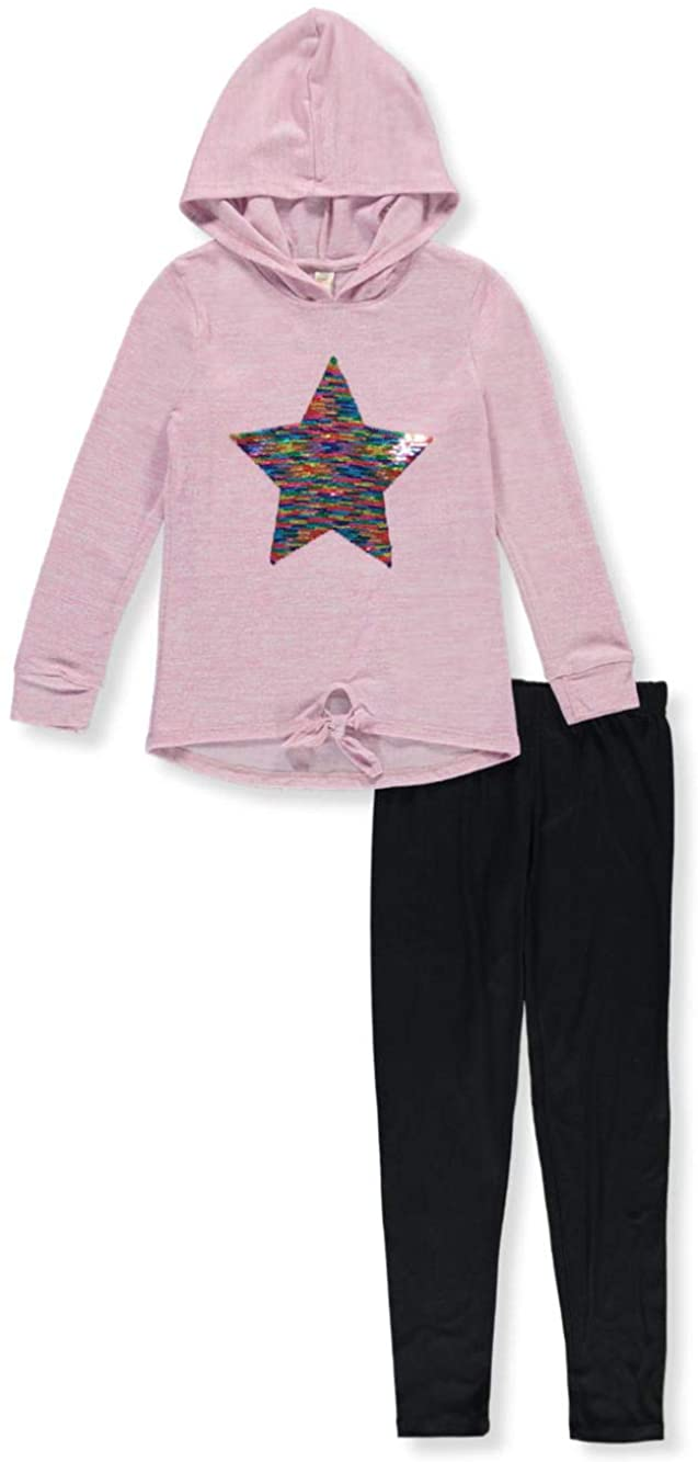 Star Ride Girls' Sequin Star Chest 2-Piece Leggings Set Outfit