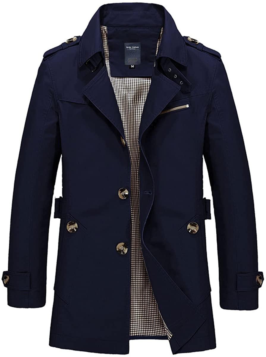 LANMWORN Men's 8 Colors Winter Lapel Single Breasted Outdoor Jacket Windbreakers, Lightweight Softshell Trenchcoat.