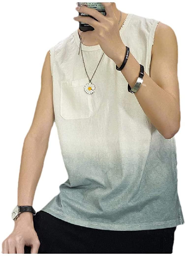 VITryst Mens Summer Pockets Crewneck Relaxed Fit Gradient Ramp Tank Top T-Shirt White XL