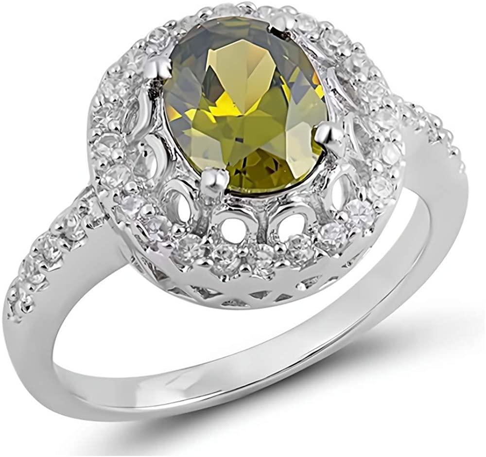 Glitzs Jewels 925 Sterling Silver CZ Ring (Yellow/Green & Clear) | Cubic Zirconia Jewelry Gift