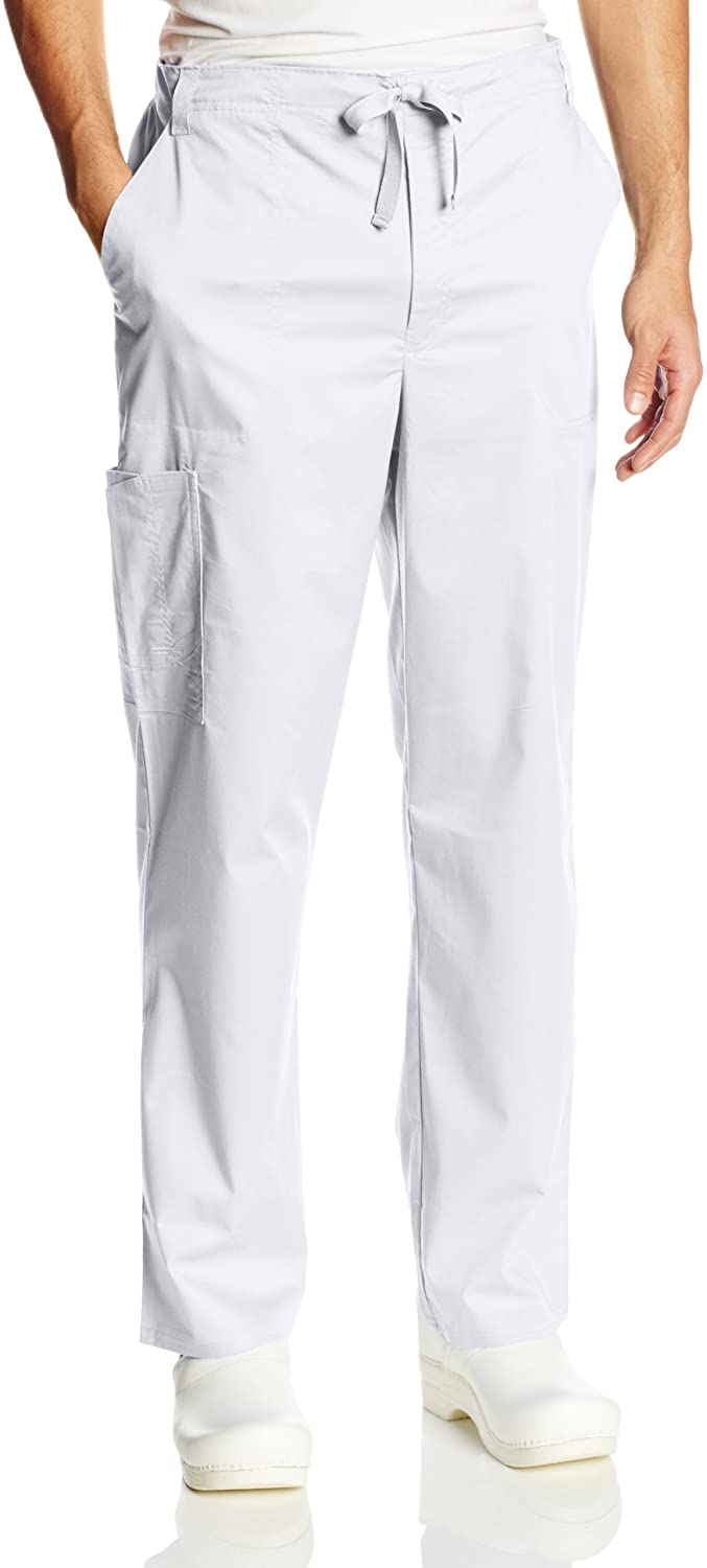 Cherokee mens Luxe Fly Front Drawstring Scrub Pant,White,Small