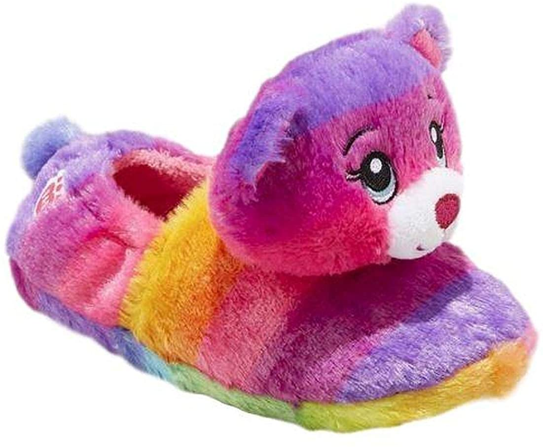 Girls Slippers Rainbow Plush Comfy Slip On Warm Kid (XS 11-12, Rainbow Bear)