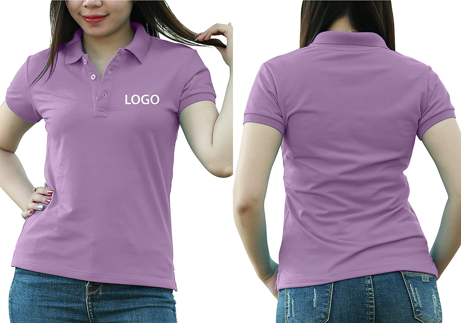 Add Custom Personalize Your Logo Text. Print On Polo & T-Shirt with Multi Sides –Sizes - Colors. Pack of 10 Purple