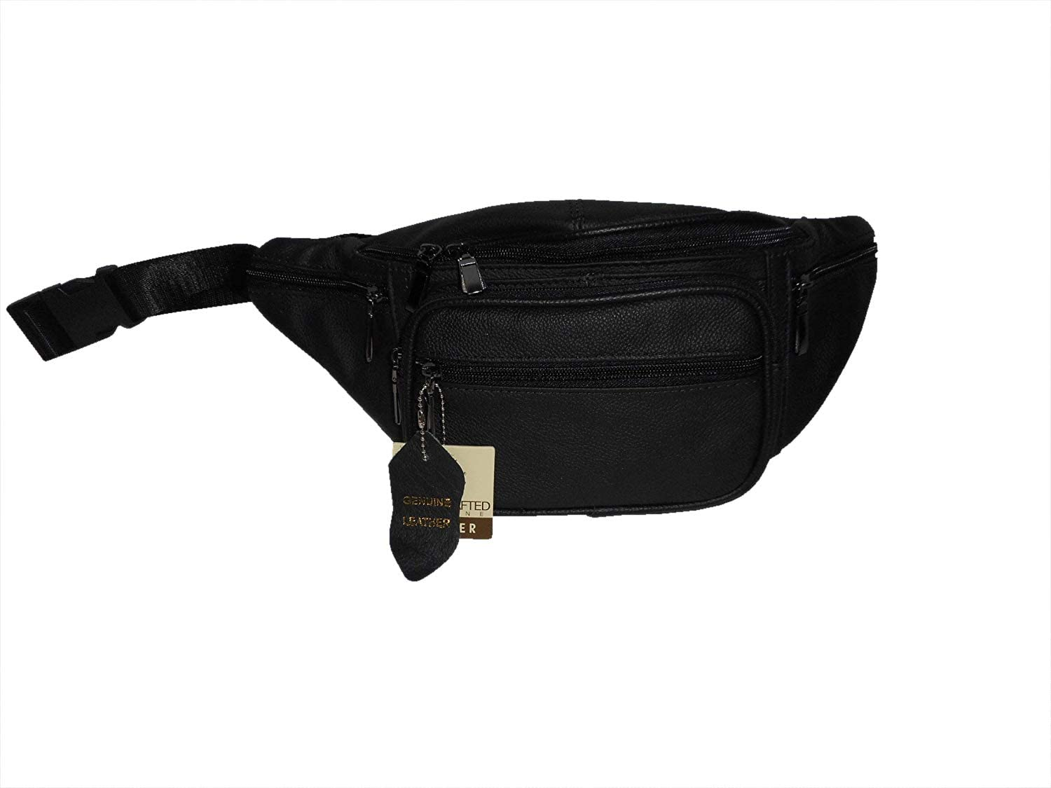 Eastern Leather Fanny Pack with Two Front Pockets, Two Side Pockets, Hidden Back Pocket.