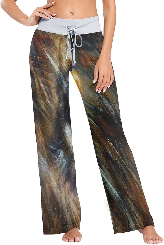 Painting Wolf Eagle Feathers Women Loose Palazzo Casual Drawstring Sleepwear Print Yoga Pants