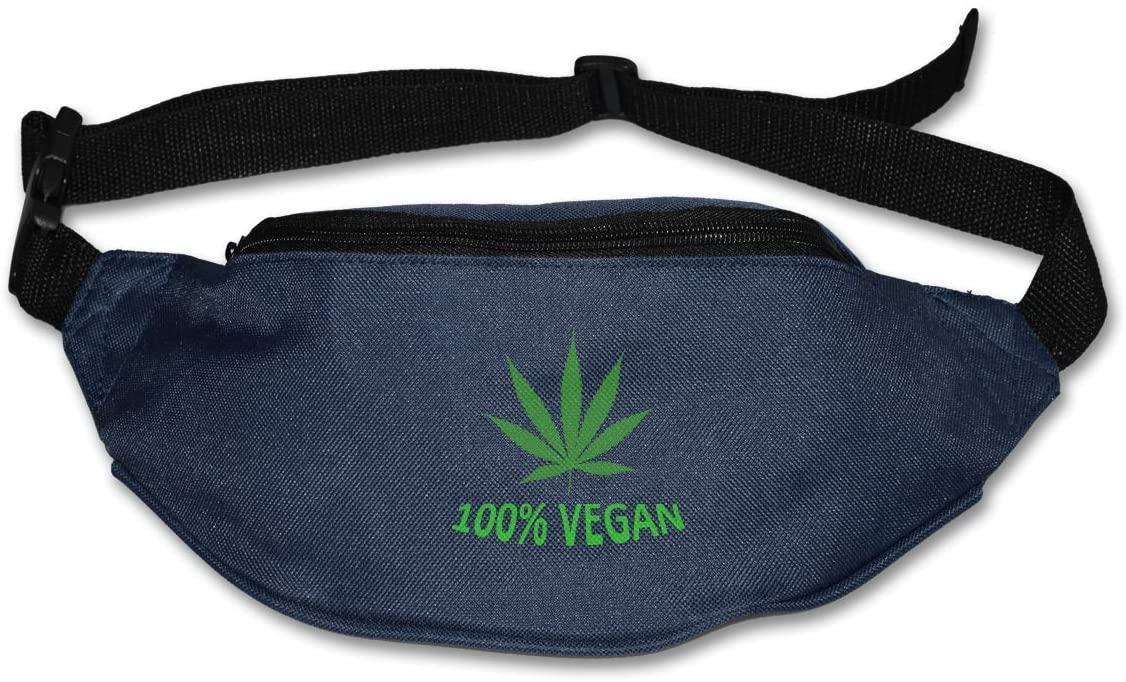 SWEET-YZ Unisex Waist Pack 100% Vegan Leaf Weed Flat Fanny Bag Pack for Sport Running