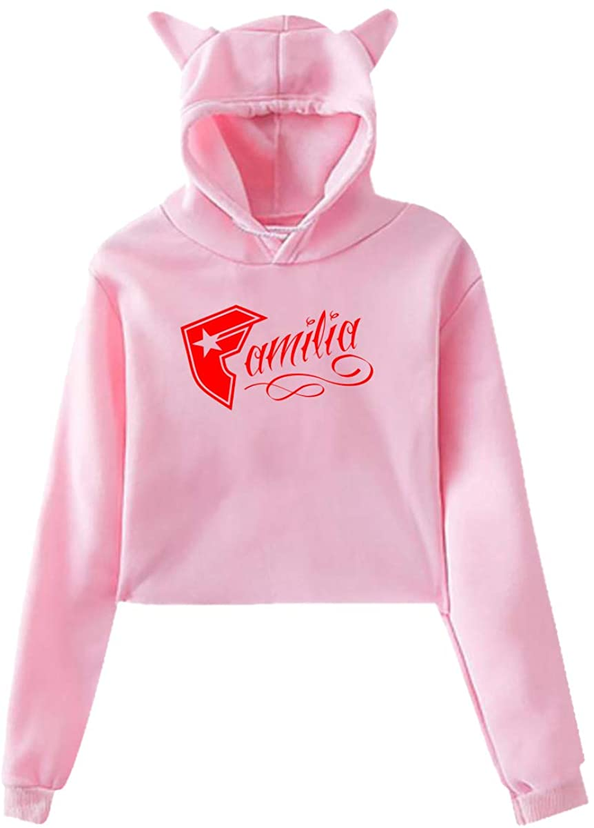 Famous Stars and Straps 1 Woman's Fashion Cat Ear Hoody Midriff-Baring Hoodie