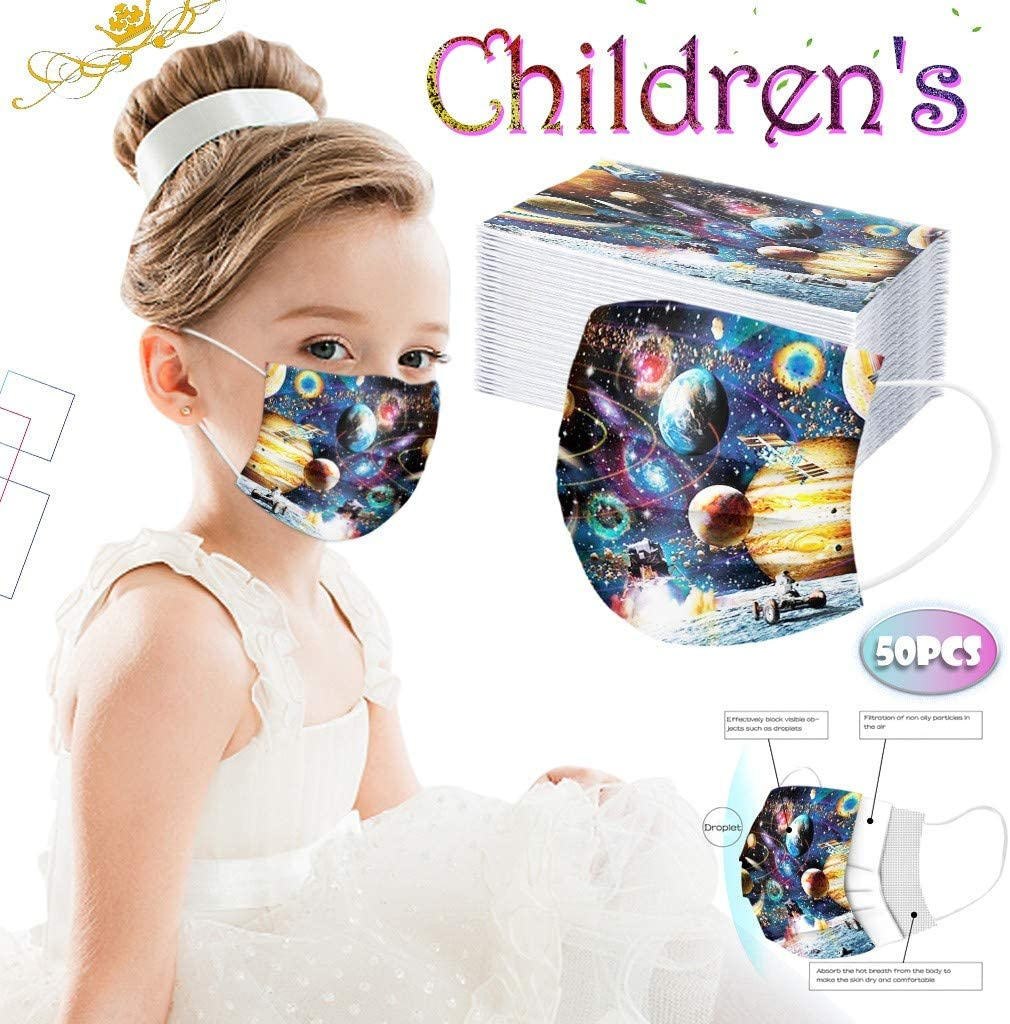 POQOQ Children's Face Bandanas Disposable Face Bandanas Anti-dust 3Ply Ear Loop Face Bandanas (50PCS,Z)