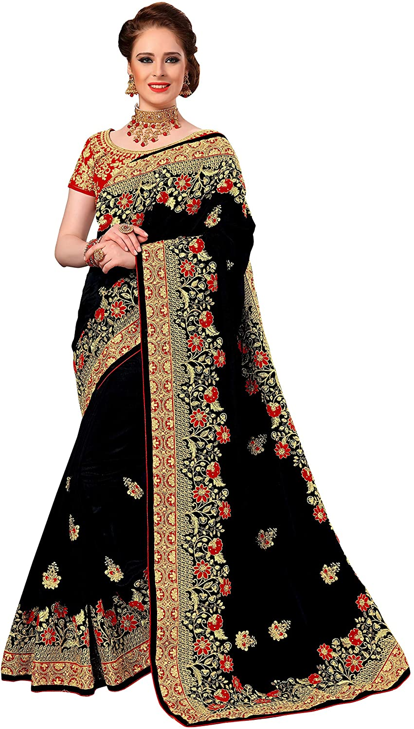 Nivah Fashion Women's Silk Havy-Embroidery Work With Blouse Pice Saree K776