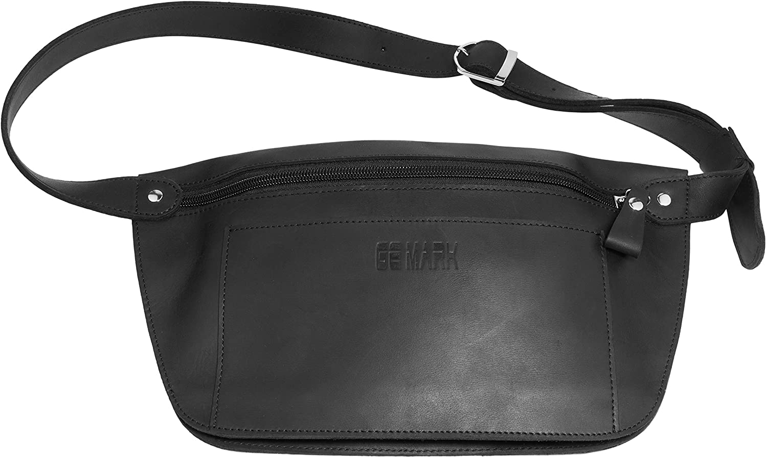 Leather Belt Bag - Genuine Waist Bag - Fanny Pack - for Man Woman by GE MARK (black)