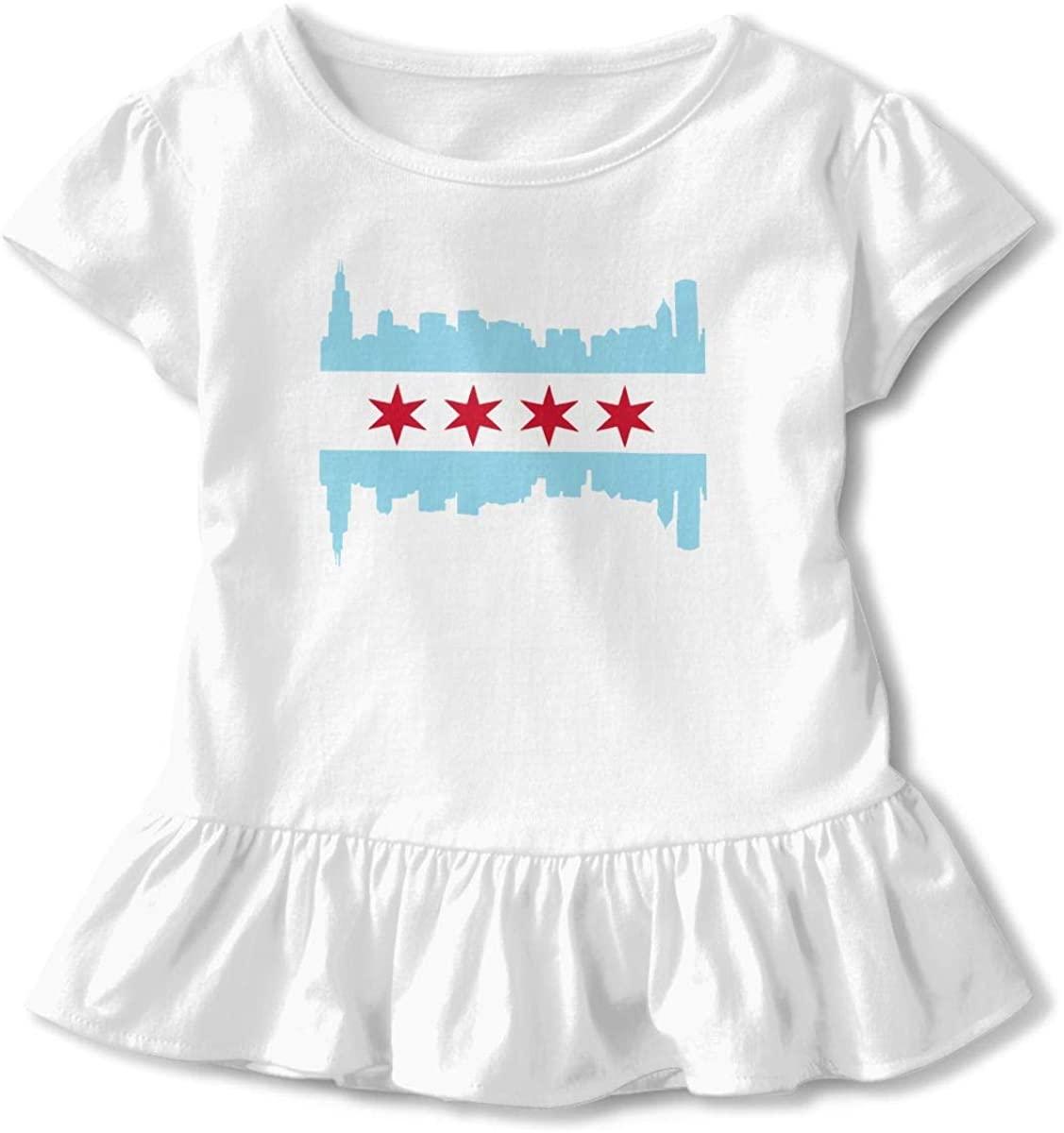 Girl's USA Chicago Flag Short Sleeve Ruffled T-Shirt Tops 2-6T