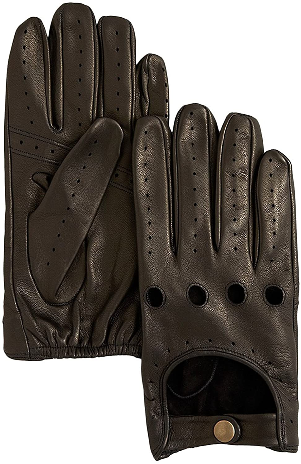 Bloomingdale's Men's Leather Perforated Driving Gloves, Black (XL)