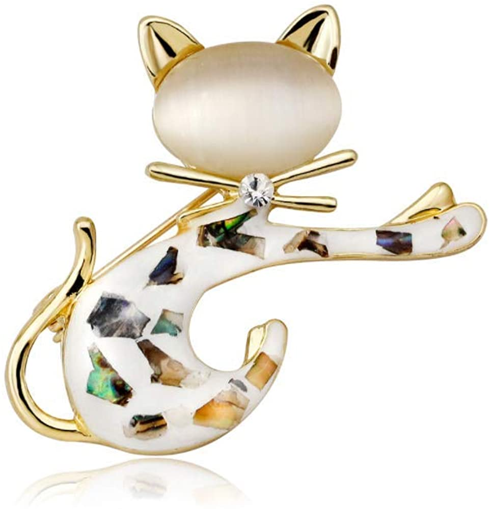 Three Colors Optional Opal Brooch, Fine Alloy , Imitated Crystal, Cat Eye Stone, Suit for Cardigan, Fur, Sweater, Hat and Scarf, etc | Ideal Brooch for Women, Girls, Ladies, Giving a Box (Multicolour)
