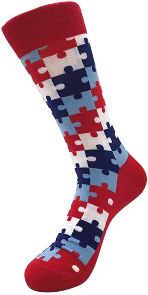 Hattfart Funny Socks Cotton Cute Animal Patterned Socks Colorful Colored Casual Crew Dress Socks for Men Fun Bright