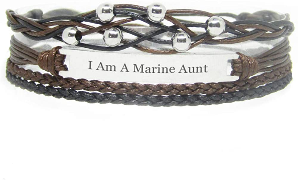 Miiras Family Engraved Handmade Bracelet - I Am A Marine Aunt - Black - Made of Braided Rope and Stainless Steel - Gift for Marine Aunt