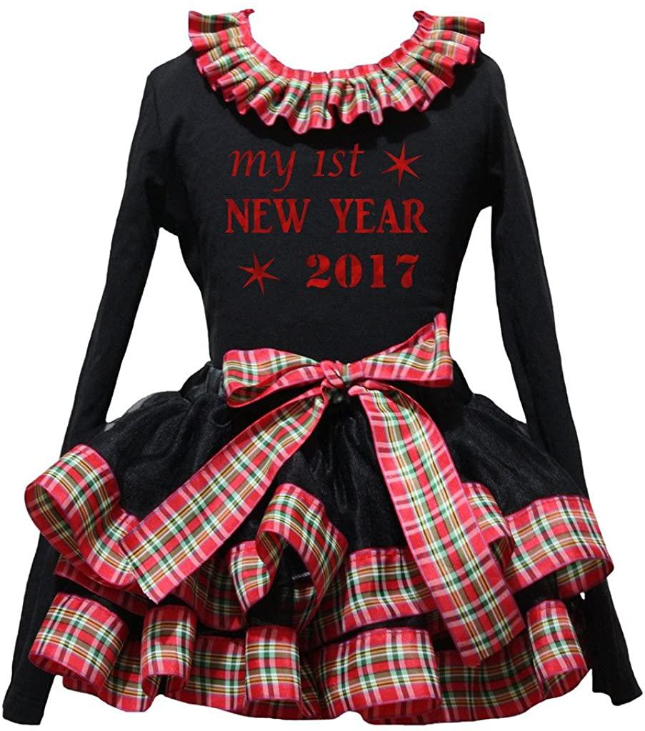 Petitebella Red My 1st 2017 Black L/s Shirt Checkered Ribbon Petal Skirt Nb-8y