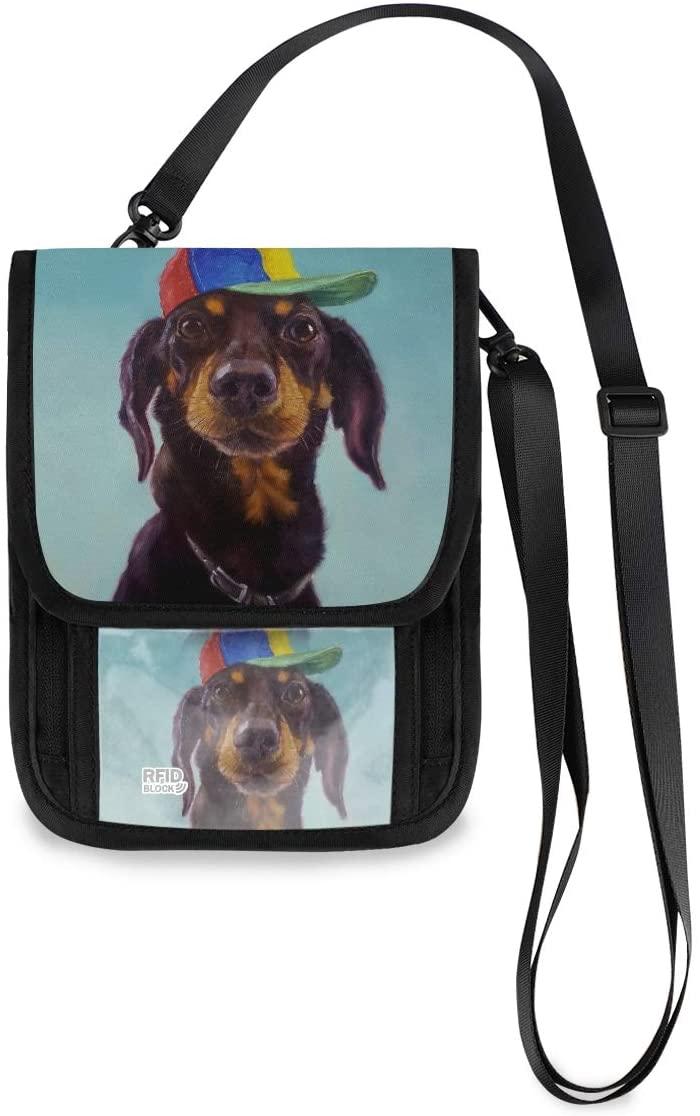 Travel Neck Wallet Dachshund With Hat Passport Holder Organized Travel Neck Pouch Crossbody Phone Bag for Women Men