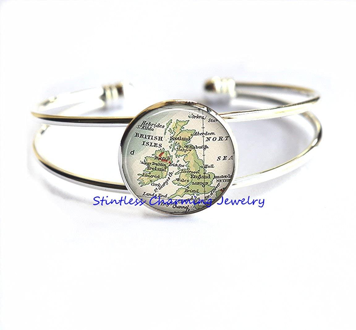 stintless charming Jewelry British Isles map Bracelet, England map Bracelets, Great Britain map Bracelets, England map Bracelet,British Map Bracelet
