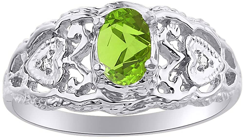 Diamond & Peridot Ring Set In Sterling Silver Designer Hearts