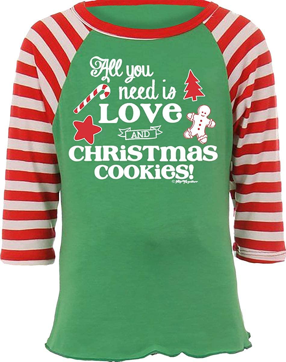 Hip Together All You Need is Love and Christmas Cookies Kids Raglan