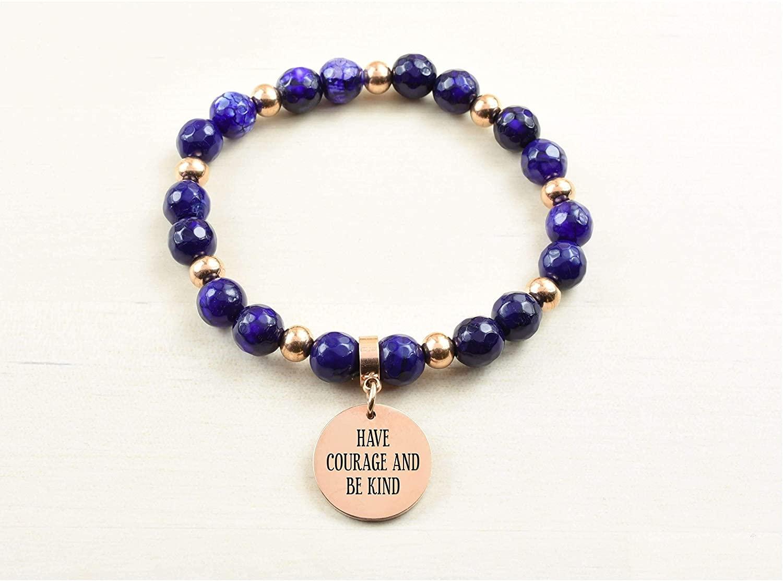 Pink Box Genuine Agate Inspirational Bracelet - Purple - Have Courage - Rose Gold -