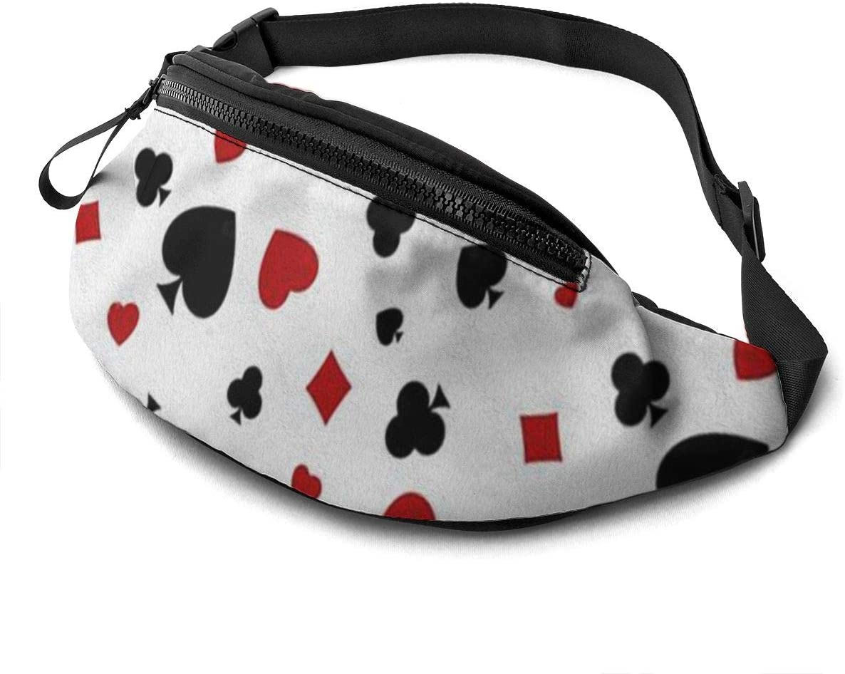 Poker printing Fanny Pack for Men Women Waist Pack Bag with Headphone Jack and Zipper Pockets Adjustable Straps